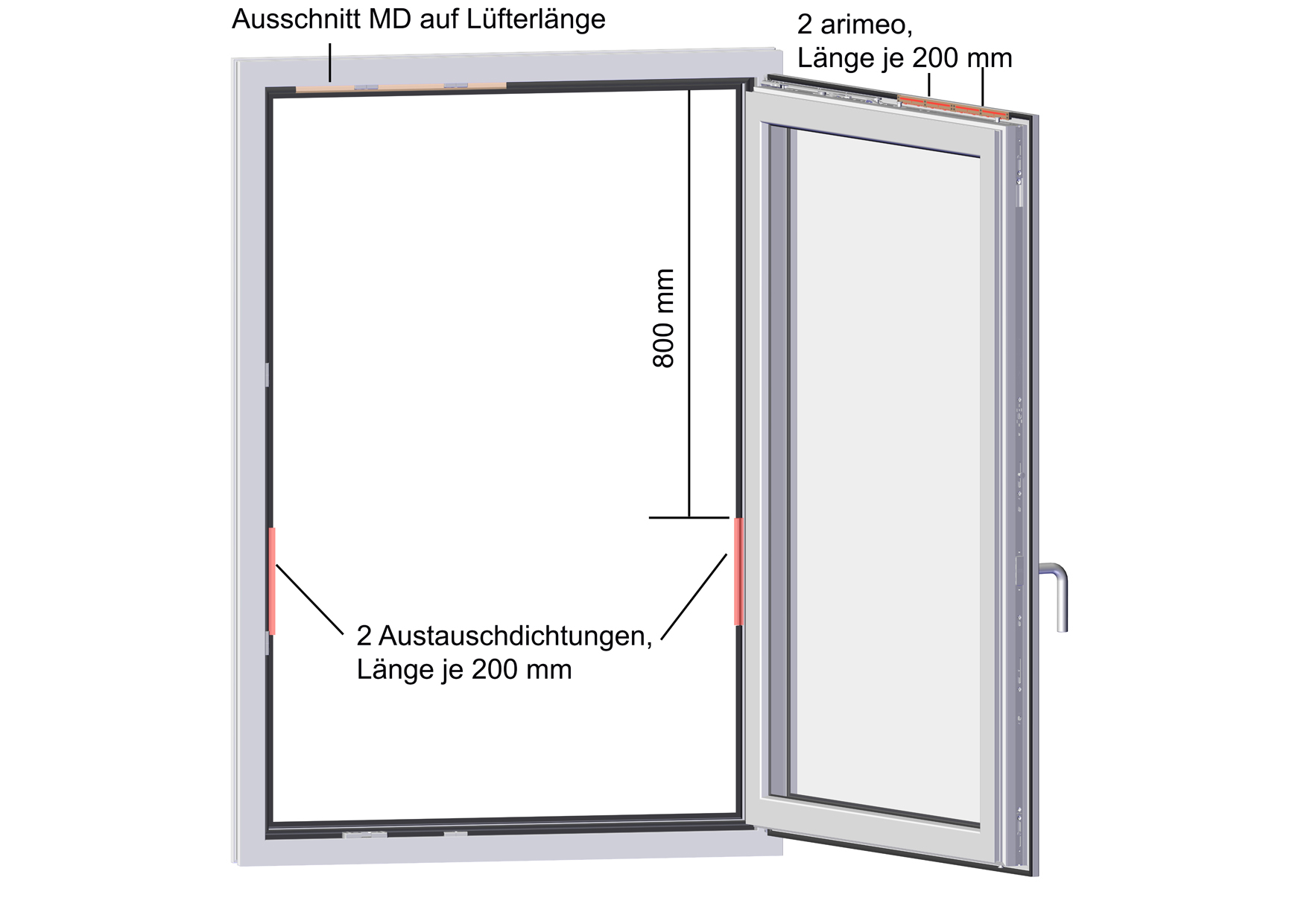 arimeo classic S Fensterfalzlüfter Einbauvariante double acoustic MD