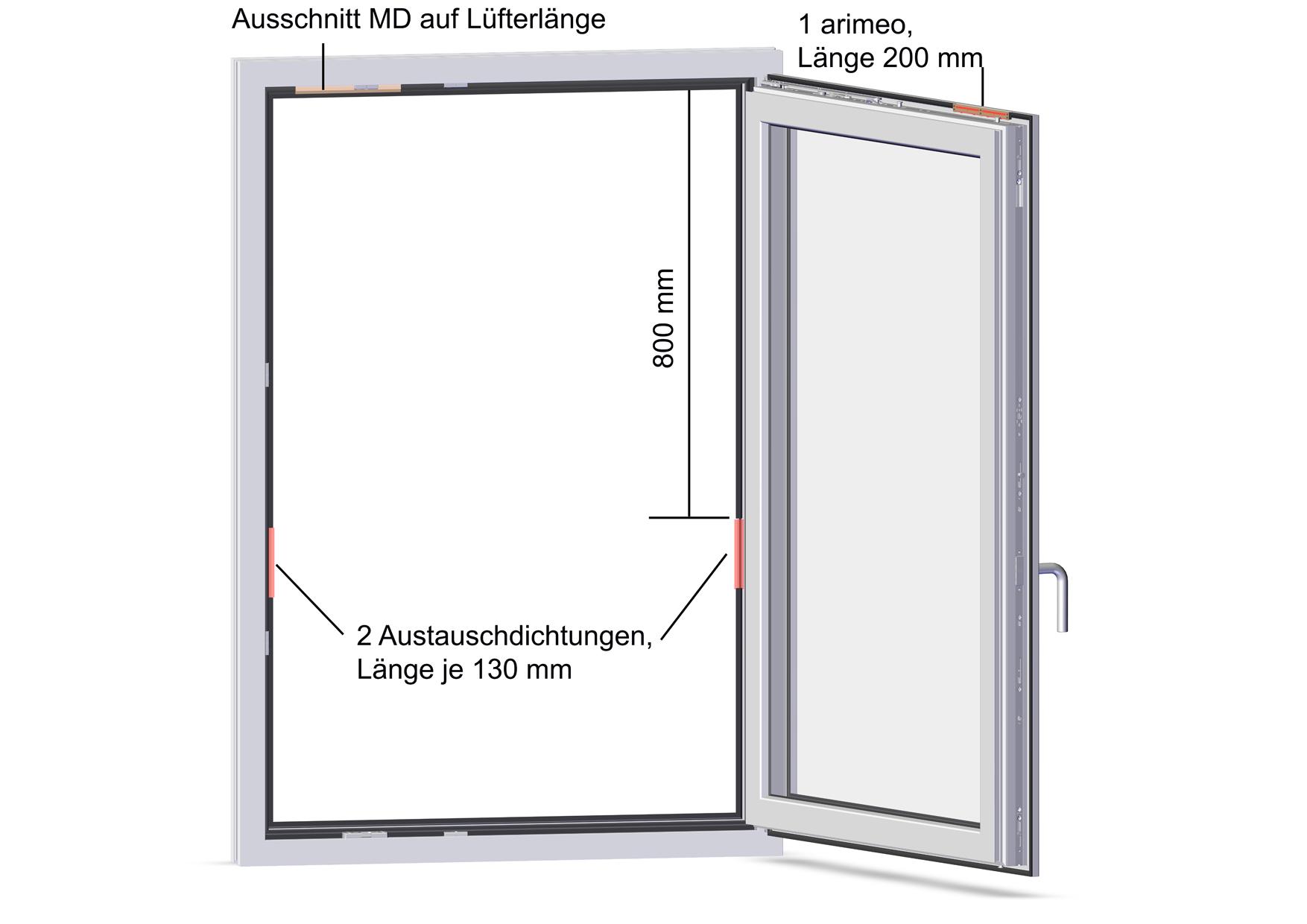 arimeo classic S Fensterfalzlüfter Einbauvariante single MD