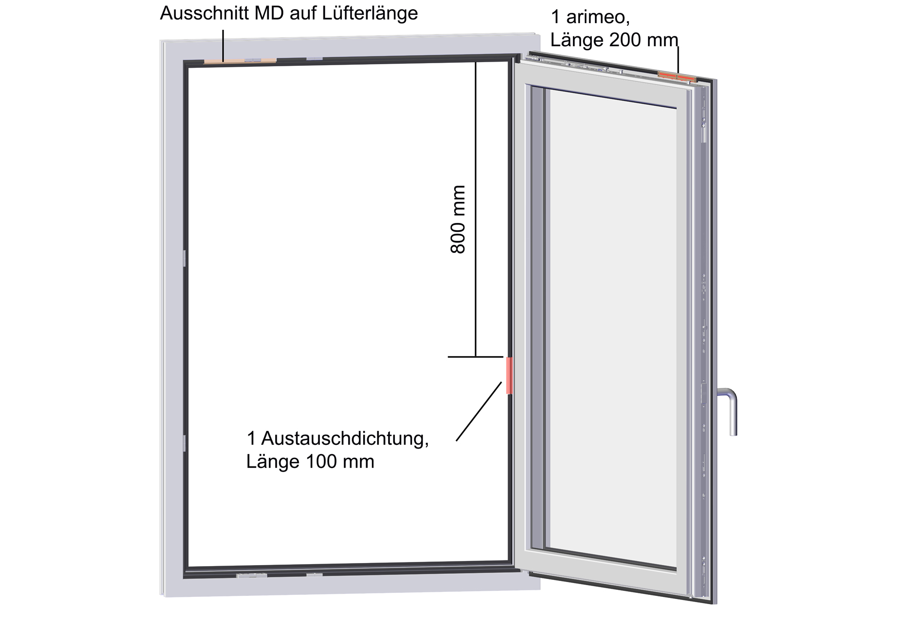 arimeo classic S Fensterfalzlüfter Einbauvariante single acoustic MD