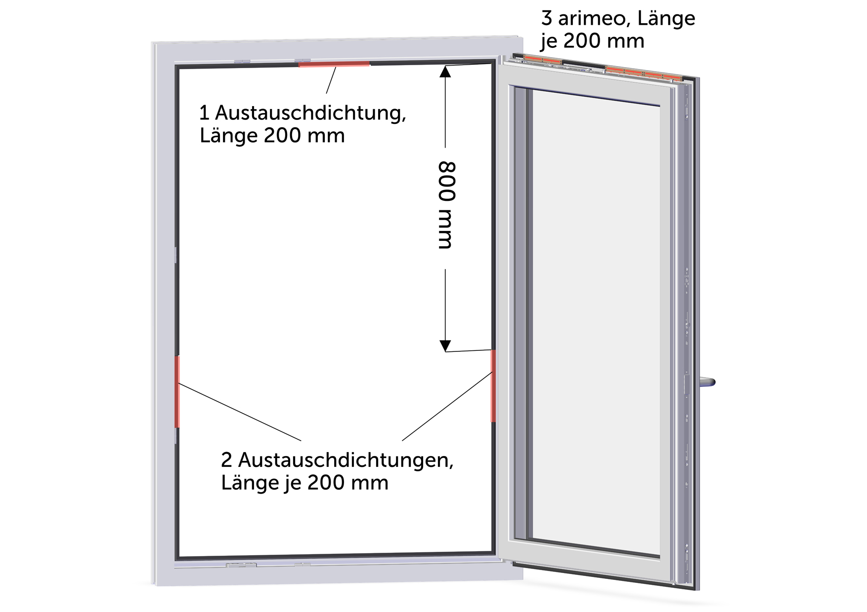 arimeo classic S Fensterfalzlüfter Einbauvariante triple