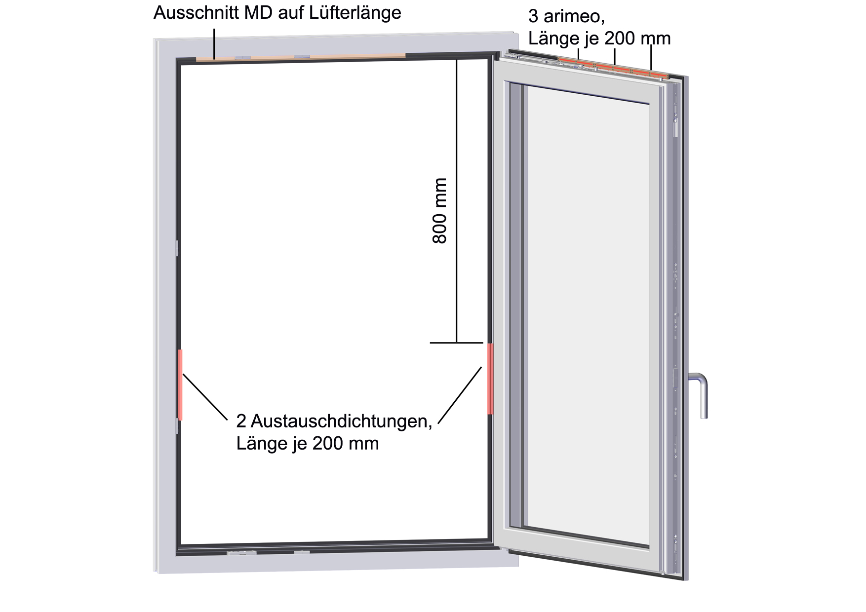 arimeo classic S Fensterfalzlüfter Einbauvariante triple acoustic MD
